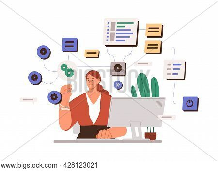 Woman Working With Big Data And Tech Information On Laptop. System Administrator Setting Software. F