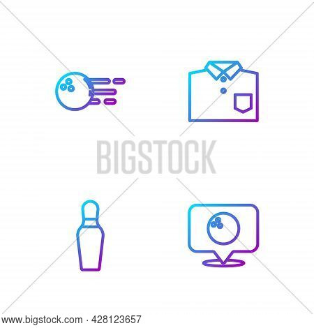 Set Line Location With Bowling Ball, Bowling Pin, And Shirt. Gradient Color Icons. Vector