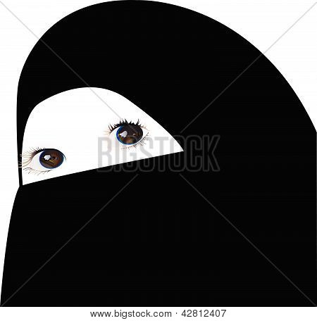 little girl looking under veil