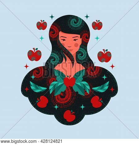 Girl With Apples. The Idea Of Ripe Apples As A Symbol Of Success In Life. A Concept That Defines The