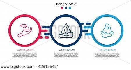 Set Line Sprout In Hand, Iceberg And Glacier Melting. Business Infographic Template. Vector