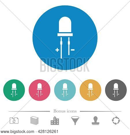 Light Emitting Diode Flat White Icons On Round Color Backgrounds. 6 Bonus Icons Included.
