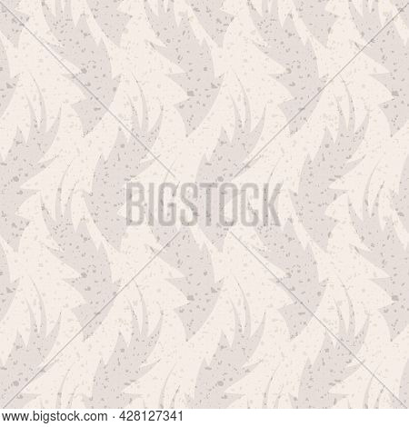 Hand Drawn Flame Shape Leaf Seamless Pattern. Neutral Blended Vector Vintage Terrazzo Retro Foliage