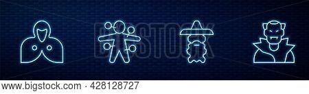 Set Line Wizard Warlock, Mantle, Cloak, Cape, Voodoo Doll And Vampire. Glowing Neon Icon On Brick Wa
