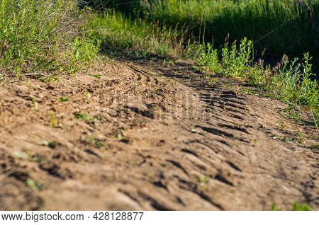 Tracks From Tractor On Old Dirt Road Close-up, Uneven Road Among Grass And Bushes