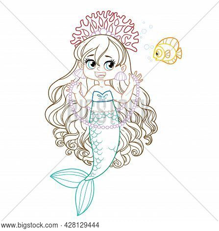Cute Little Mermaid Girl In Coral Tiara Shows A Long Pearl Necklace To A Fis Colored Outlined For Co