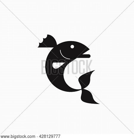 Vector Illustration Of A Stylized Fish - Largemouth North American Bass. Logo. Flat Design..