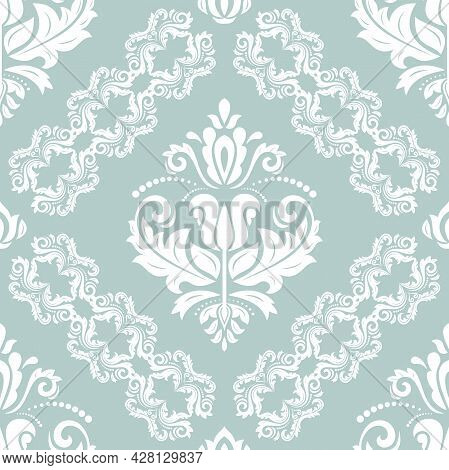 Classic Seamless Vector Pattern. Damask Orient Light Blue And White Ornament. Classic Vintage Backgr