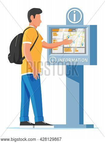 Information Kiosk And Man Isolated On White. Sign Digital Information Panel. Street Interactive Touc