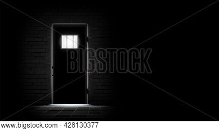 Prison Dark Background. Metal Door To Barred Window And Brick Wall. Jail Cell Room Interior. Concept
