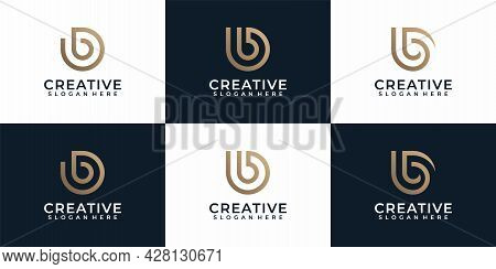 Set Of Monogram Typography Letter B Logo Design. Logo Can Be Used For Icon, Brand, Identity, Symbol,