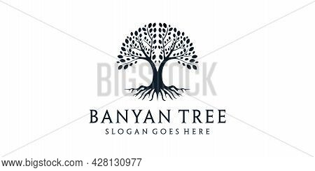 Banyan Tree With Roots Nature Silhouette Logo Design. Logo Can Be Used For Icon, Brand, Identity, Sy