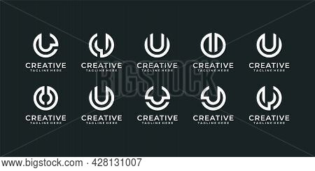 Set Of Letter U Modern Typography Editable Logo Design. Logo Can Be Used For Icon, Brand, Identity,