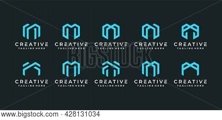 Set Of Elegant Minimalist Technology Letter M Logo Design Elements. Logo Can Be Used For Icon, Brand