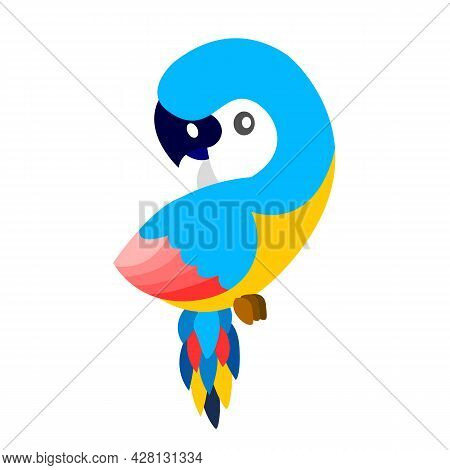 Ara Parrot Isolated. Tropical Exotic Bird. Blue, Yellow, Pink And Red. Cute And Funny. Cartoon Flat
