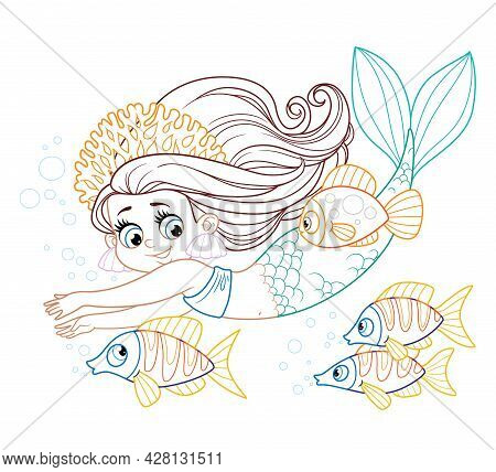 Cute Little Mermaid Girl In Coral Tiara Swims With Fish Colored Outlined For Coloring Page On A Whit