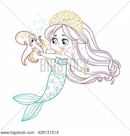 Cute Little Mermaid Girl In Coral Tiara Talks With A Small Octopus Colored Outlined For Coloring Pag