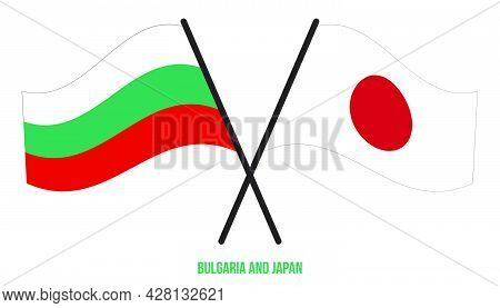 Bulgaria And Japan Flags Crossed And Waving Flat Style. Official Proportion. Correct Colors.