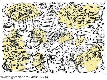 Hand Drawn Line Vector Illustration Food. Doodle Mexican Cuisine: Grilled Meat, Classic Tres Leches