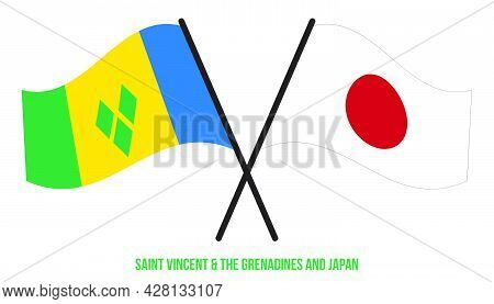 Saint Vincent &  Grenadines And Japan Flags Crossed And Waving Flat Style. Official Proportion. Corr