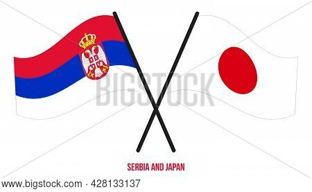 Serbia And Japan Flags Crossed And Waving Flat Style. Official Proportion. Correct Colors.