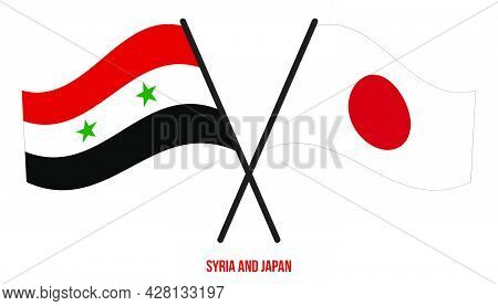 Syria And Japan Flags Crossed And Waving Flat Style. Official Proportion. Correct Colors.