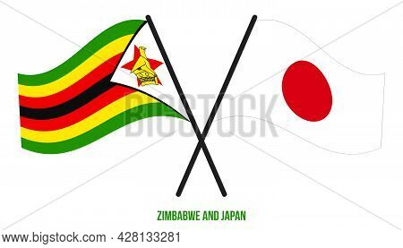 Zimbabwe And Japan Flags Crossed And Waving Flat Style. Official Proportion. Correct Colors.