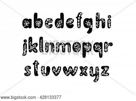 Vintage Floral Bold Letters Alphabet Logo Spring. Classic Lowercase Abc Summer Letter. Design Vector