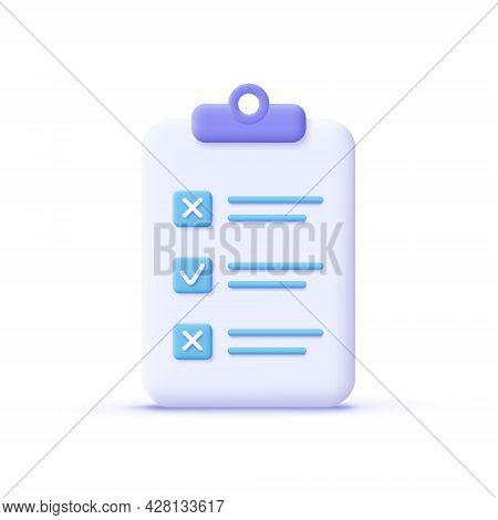 Assignment Icon. Clipboard, Checklist, Document Symbol. Business, Education Concept. 3d Vector Illus