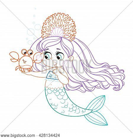 Cartoon Crab Showing A Large Pearl  To Cute Little Mermaid Girl In Coral Tiara Colored Outlined For