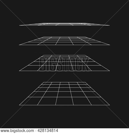 Retrofuturistic Flat Perspective Grid At Different Angles. Cyber Retro Design Element. Flat Perspect