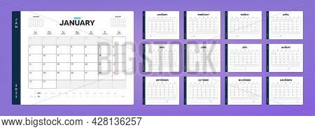 Calendar Organizer Template For 2022 Year Timeline. Annual Diary Planner Schedule Design. Corporate