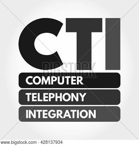 Cti - Computer Telephony Integration Acronym, Technology Concept Background