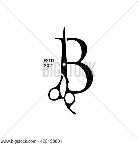 Luxury And Elegant Illustration Logo Design Initial B Scissors For Barbershop And Salon. Logo Can Wo