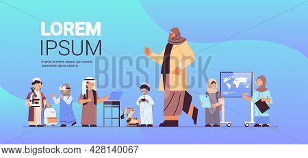 Arab Schoolchildren Group With Female Teacher Education Concept Horizontal Full Length