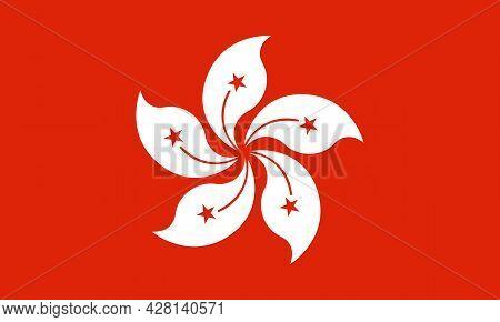 Hong Kong Flag. Vector Illustration In Official Color