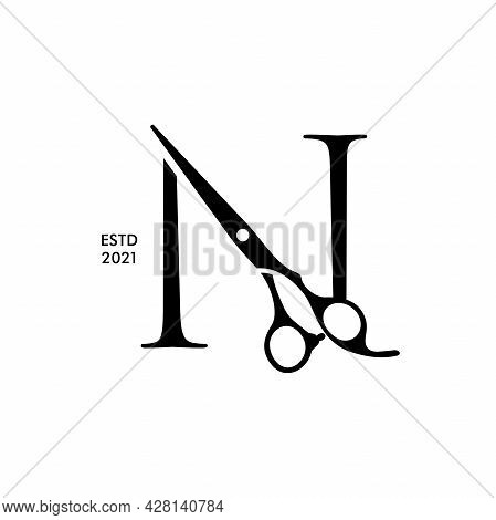 Luxury And Elegant Illustration Logo Design Initial N Scissors For Barbershop And Salon. Logo Can Wo