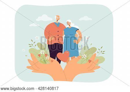 Huge Hands Holding Happy Senior Couple Flat Vector Illustration. Medical Care, Help, Support For Eld