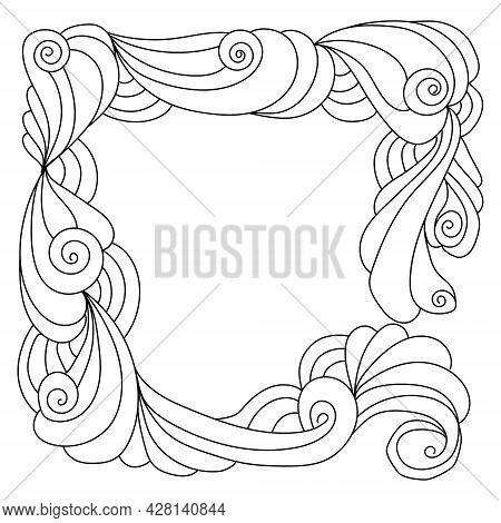 Abstract Zen Frame Of Ornate Spirals And Curls Vector Illustration For Design