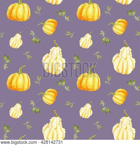 Watercolor Autumn Pumpkin Seamless Pattern On A Gentle Purple Background. Orange Round Gourd With Le