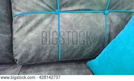 Details Of Upholstery Of Modern Soft Furniture, Armchair, Chair, Pouf Or Pillow From Eco Leather Mat