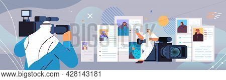 Arab Hr Manager With Video Camera Choosing Resume Curriculum Vitae With Photo And Personal Info Of N