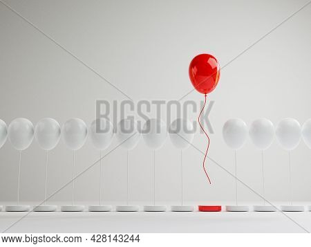 Red Balloon Floating Out From White Balloons That Are Tied To The Platform On White Background , Per