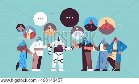 Cute Robot Discussing With Arab People During Meeting Chat Bubble Communication Artificial Intellige