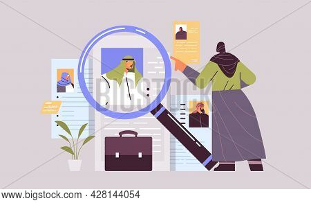 Arab Hr Manager Choosing Resume Curriculum Vitae With Photo And Personal Info Of New Employees Job C