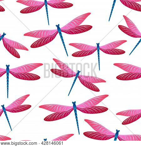 Dragonfly Decorative Seamless Pattern. Summer Clothes Textile Print With Damselfly Insects. Garden