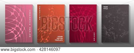 Wireframe Rendering Concept Abstract Vector Covers. Fluid Waves Flow Textures. Tracery Brochure Vect
