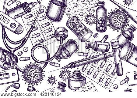 Artistic Seamless Pattern With Vial Of Blood, Pills And Medicines, Medical Thermometer, Coronavirus