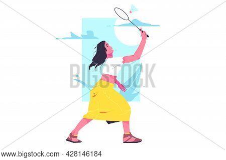 Girl Amateur Badminton Player With Racket Vector Illustration. Leisure On Fresh Air Flat Style. Spor