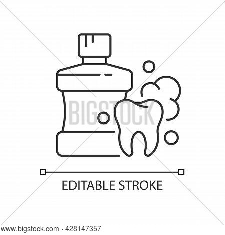 Mouthwash For Teeth Health Linear Icon. Oral Rinse. Prevent Teeth Decay. Strengthen Enamel. Thin Lin